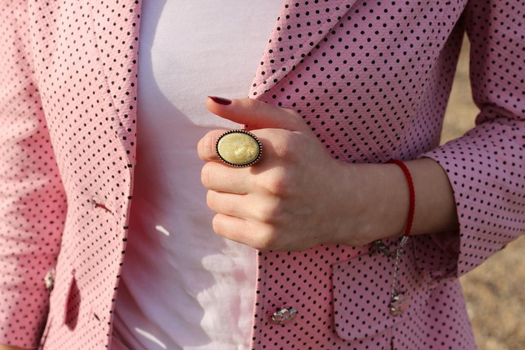 Pink Polka Dots Office Jacket_Vintage_Ring_Ana Drobot