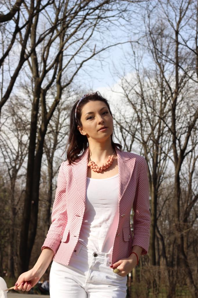 Pink Mood_ Polka Dots Office Jacket_Pink_Sandals_Ana Drobot