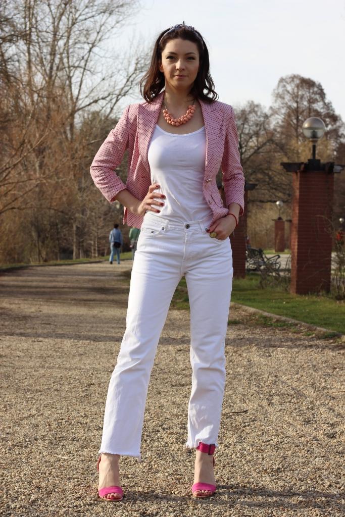 Pink Polka Dots Office Jacket_Pink_Sandals_Ana Drobot_Pink Mood