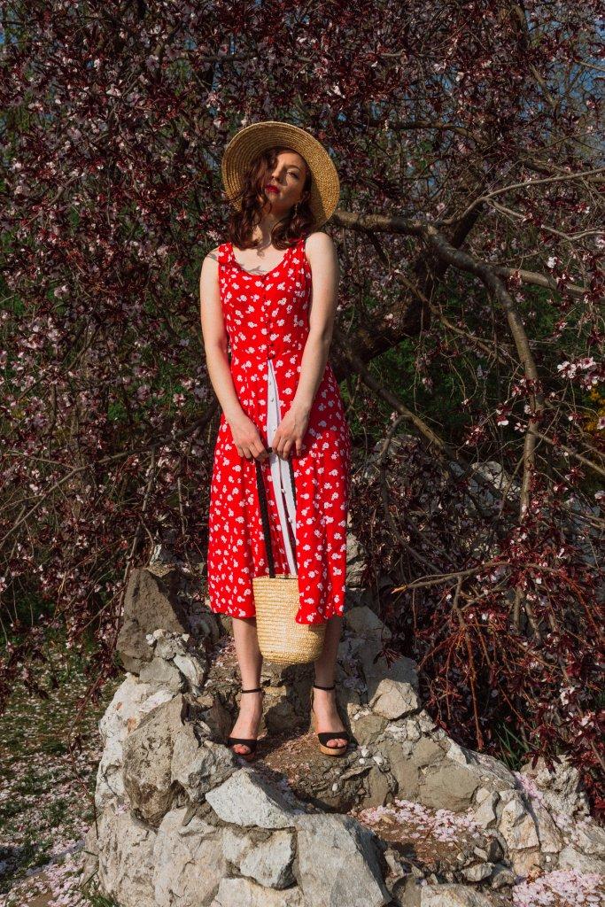 Ana_Drobot_Red_Floral_Summer_Dress_Straw_Hat_Rochie_cu_Flori